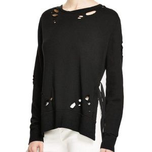 Pam & Gela Side Slit Destroyed Sweatshirt in Black